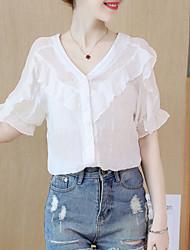 baratos -Mulheres Blusa Sólido Branco US6