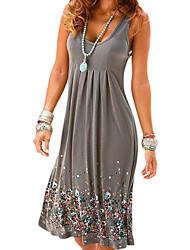 Недорогие -Жен. Большие размеры Пляж Прямое Платье - Геометрический принт, С принтом U-образный вырез Мини
