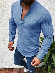 Недорогие -Муж. Большие размеры - Рубашка Лён, Круглый вырез Однотонный Черный / Длинный рукав
