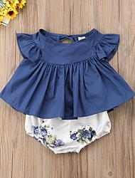 Недорогие -малыш Девочки Активный / Классический Цветочный принт С короткими рукавами Обычный Набор одежды Синий