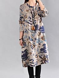 cheap -Women's Shift Dress - Geometric Gray L XL XXL