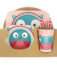 Недорогие -5 предметов Столовые наборы Кормление столовых приборов посуда Бамбук обожаемый Милый Креатив