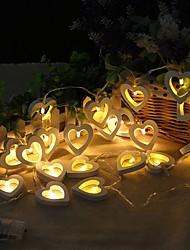 Недорогие -2 м 20 светодиодные фонари деревянные лампы в форме сердца для фестиваля ну вечеринку свадьба украшения дома теплый белый творческий