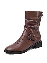 economico -Per donna Stivaletti Heel di blocco Punta tonda Fibbia PU (Poliuretano) Stivali metà polpaccio Vintage Autunno inverno Nero / Marrone
