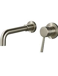 Недорогие -Ванная раковина кран - Широко распространенный Хром / Матовый никель / черный На стену Одной ручкой одно отверстиеBath Taps
