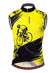 Недорогие -WOSAWE Муж. Без рукавов Велокофты Жилет для велоспорта Черный / желтый Велоспорт Жилетка Джерси Дышащий Влагоотводящие Быстровысыхающий Виды спорта Polyster Горные велосипеды Шоссейные велосипеды