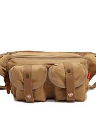 Недорогие -Универсальные Молнии холст Поясная сумка Сплошной цвет Военно-зеленный / Кофейный / Хаки
