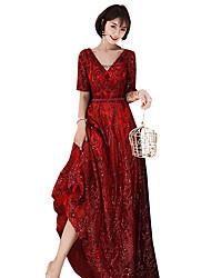 저렴한 -A-라인 V 넥 바닥 길이 스팽글 드레스 와 스팽글 으로 LAN TING Express