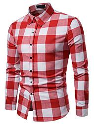 Недорогие -Муж. Рубашка Деловые / Элегантный стиль Однотонный / Полоски / Гусиная лапка Черный