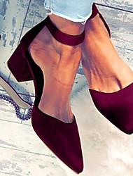 Χαμηλού Κόστους -Γυναικεία Τακούνια Κοντόχοντρο Τακούνι Φο Δέρμα Ανοιξη καλοκαίρι Μαύρο / Κρασί / Αμύγδαλο