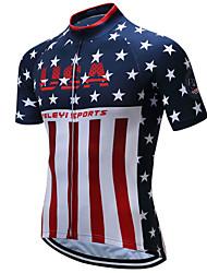 Недорогие -21Grams Американский / США Флаги Муж. С короткими рукавами Велокофты - Красный + синий Велоспорт Верхняя часть Дышащий Влагоотводящие Быстровысыхающий Виды спорта Терилен / Слабоэластичная