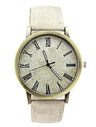 Недорогие -Нарядные часы Кожа Аналоговый Белый Синий / Нержавеющая сталь