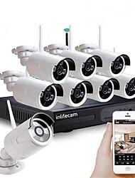 Недорогие -8-канальный 1080p HD Wi-Fi беспроводной NVR комплект безопасности системы видеонаблюдения подключи и играй 8шт камеры Pal NTSC поддержка до 4 ТБ по электронной почте будильник