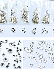Недорогие -1200 шт. / Упак. Поделки золотой плоской стеклянной ногтевой драгоценных камней 3d блестящие алмазов ногтей стразы украшения