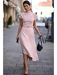 Недорогие -Жен. Классический Свободный силуэт Оболочка Платье - Однотонный Вырез под горло Ассиметричное Пыльная роза