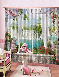 Недорогие -европейская печать окна на берегу озера водопад многофункциональные шторы спальня и гостиная многофункциональные двойные полиэфирные шторы