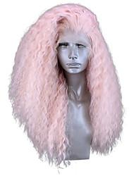 Недорогие -Синтетические кружевные передние парики Кудрявый Стиль Боковая часть Лента спереди Парик Розовый Розовый Искусственные волосы 18-24 дюймовый Жен. Регулируется Жаропрочная Для вечеринок Розовый Парик