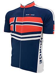 Недорогие -21Grams Norway Флаги Муж. С короткими рукавами Велокофты - Красный + синий Велоспорт Верхняя часть Дышащий Влагоотводящие Быстровысыхающий Виды спорта Терилен Горные велосипеды Шоссейные велосипеды