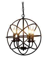 Недорогие -сферические подвесные светильники промышленные люстры 4 светильника островные клетки подвесной светильник кухня прихожая потолочные светильники регулируемый черный