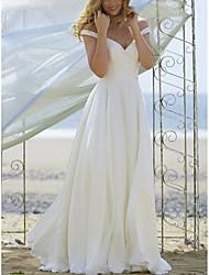 저렴한 -A-라인 오프 숄더 바닥 길이 쉬폰 Made-To-Measure 웨딩 드레스 와 으로 LAN TING Express