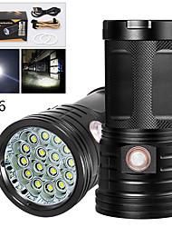 Недорогие -XM16 Светодиодные фонари 12800 lm Светодиодная лампа LED 16 излучатели Руководство 3 Режим освещения с USB кабелем Водонепроницаемый Для профессионалов Анти-шоковая защита