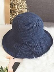 Недорогие -Жен. Классический Соломенная шляпа Шляпа от солнца Солома,Однотонный Темно синий Светло-коричневый Светло-серый