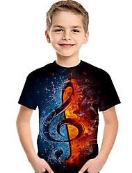 Недорогие -Дети Дети (1-4 лет) Мальчики Активный Классический Геометрический принт С принтом Контрастных цветов С принтом С короткими рукавами Футболка Черный