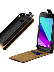 Недорогие -Кейс для Назначение SSamsung Galaxy Samsung Galaxy Xcover 4 Бумажник для карт / Защита от удара / Флип Чехол Однотонный Твердый Настоящая кожа