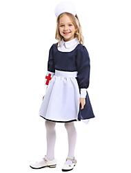 Недорогие -Медсестры Костюм Дети Девочки единообразный Хэллоуин Выступление Косплэй костюмы Тематическая вечеринка костюмы Девочки Детская одежда для танцев Терилен Планка