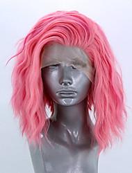 Недорогие -Синтетические кружевные передние парики Волнистый Стиль Боковая часть Лента спереди Парик Розовый Розовый Искусственные волосы 10-12 дюймовый Жен. Регулируется Жаропрочная Для вечеринок Розовый Парик