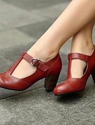 Недорогие -Жен. Обувь на каблуках На толстом каблуке Полиуретан Весна Черный / Желтый / Красный