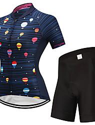 Недорогие -Fastcute Жен. С короткими рукавами Велокофты и велошорты Черный / синий Воздушные шары Велоспорт Наборы одежды Дышащий Влагоотводящие Быстровысыхающий Виды спорта Воздушные шары / Эластичная