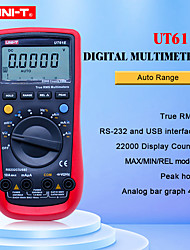 Недорогие -Цифровой мультиметр uni-t ut61e true rms auto range 22000 отсчет ПК подключить переменный ток постоянного тока вольтметр 9 В аккумулятор