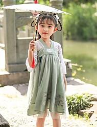 olcso -Gyermek táncruhák Hanfu Lány Teljesítmény POLY Hímzés Háromnegyedes Ruha