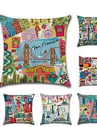 Недорогие -6 штук Лён Наволочка, Города Архитектура европейский Мода Бросить подушку