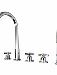 Недорогие -Смеситель для душа / Смеситель для ванны - Современный Хром Разбросанная Медный клапан Bath Shower Mixer Taps