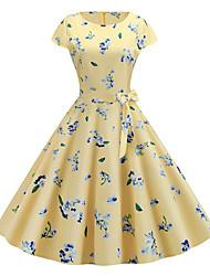 cheap -Women's Basic Chinoiserie A Line Swing Dress - Color Block Print Yellow L XL XXL