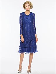 olcso -A-vonalú Ékszer Térdig érő Csipke Örömanya ruha val vel Csipke által LAN TING Express