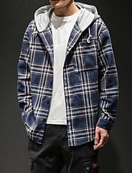 Недорогие -Муж. Пэчворк Рубашка Капюшон Уличный стиль Однотонный / Контрастных цветов Синий