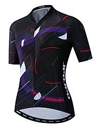 hesapli -JPOJPO Kadın's Kısa Kollu Bisiklet Forması Siyah Bisiklet Tracksuit Forma Üstler Nefes Alabilir Spor Dalları Polyester Elastane Terylene Dağ Bisikletçiliği Yol Bisikletçiliği Giyim / Mikro-Esnek