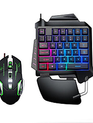 Недорогие -litbest USB проводная одноручная игровая клавиатура с подсветкой подсветка клавиш с запястьями дыхательные фонари мышь комбо 2 штуки в комплекте