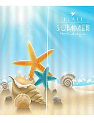 Недорогие -приморский пляж размерный дизайн шторы утолщение звукоизоляция голова изоляция ткань шторы спальня простота установки водонепроницаемый против морщин занавески для душа