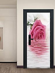 Недорогие -Отражение розовых цветов наклейки на двери декоративные водонепроницаемые наклейки на двери