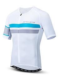 hesapli -JPOJPO Erkek Kısa Kollu Bisiklet Forması Beyaz Bisiklet Tracksuit Forma Üstler Nefes Alabilir Spor Dalları Polyester Elastane Terylene Dağ Bisikletçiliği Yol Bisikletçiliği Giyim / Mikro-Esnek