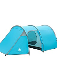 Недорогие -HUILINGYANG 4 человека Семейный кемпинг-палатка На открытом воздухе С защитой от ветра Дожденепроницаемый Двухслойные зонты Карниза Палатка 2000-3000 mm для Походы / туризм / спелеология Терилен