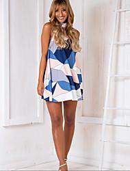 cheap -Women's Swing Dress - Solid Colored Light Blue M L XL