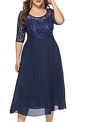 Недорогие -Жен. Классический Оболочка Платье - Однотонный, Кружева Средней длины