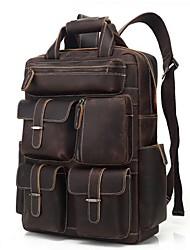 Недорогие -Водонепроницаемость Воловья кожа Молнии рюкзак Сплошной цвет Повседневные Темно-коричневый / Муж.