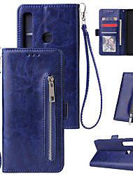 Недорогие -Кейс для Назначение SSamsung Galaxy S9 / S9 Plus / S8 Plus Кошелек / Бумажник для карт / Флип Чехол Однотонный / Полосы / волосы Кожа PU