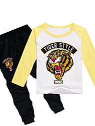 Недорогие -Дети Дети (1-4 лет) Мальчики Классический Тигр С принтом С принтом Длинный рукав Обычный Обычная Хлопок Набор одежды Черный